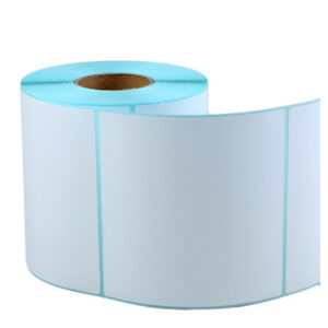 100mm x 100mm – Blank Self Adhesive Blue Glassine Direct Thermal Transfer Labels -2000/Roll