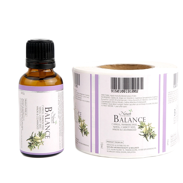 Self Adhesive Viny Cosmetic Essential Oil Bottle Labels Roll
