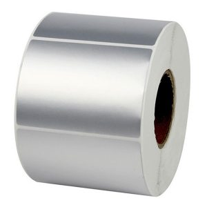 80mm x 50mm – Silver PET Blank PVC Thermal Transfer Barcode Labels Roll -1000pcs