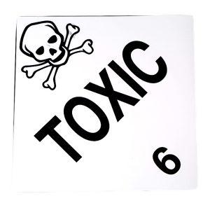 Self Adhesive 'Toxic' Waterproof Dangerous Goods Warning Label Stickers
