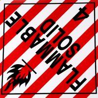 Self Adhesive 'Flammable Solid' Waterproof Dangerous Goods Warning Label Stickers