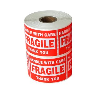 6″ x 4″ Handle with Care Fragile Thank You Warning Stickers for Shipping – 500 Labels/Roll