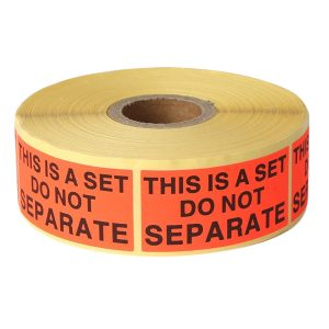 "1 x 2 inch ""This Is A Set Do Not Separate"" Orange Fluorescence Vinyl Warning Labels – 500 Labels/Roll"